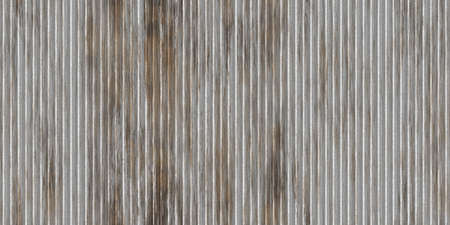 Dirty gray corrugated metal texture. Crimp fence background. Ribbed metallic surface. Wavy iron wall pattern. Fluted metal fencing backdrop.