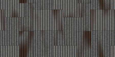 Steel corrugated bare metal sheets texture. Crimp fence background. Ribbed metallic surface. Wavy iron wall pattern. Fluted metal fencing backdrop.