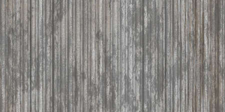 Gray fluted metal fencing backdrop. Corrugated metal texture. Crimp fence background. Ribbed metallic surface. Wavy iron wall pattern.