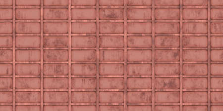 Red crimp fence wall background. Ribbed metallic surface. Wavy iron wall pattern. Fluted metal fencing backdrop. Corrugated metal texture.
