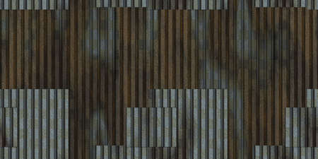 Wet fluted metal fencing backdrop. Corrugated metal texture. Crimp fence background. Ribbed metallic surface. Wavy iron wall pattern.