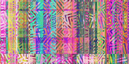 Colored Minimal Dynamic Dashes Distorted Geometric Surface. Abstract grunge pattern. Distortion Screen Texture. Colorful Noise Background. Glitch Art Backdrop.