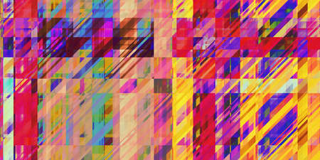 Colored Minimal Dynamic Dashes Distorted Geometric Surface. Abstract grunge pattern. Distortion Screen Texture. Colorful Noise Background. Glitch Art Backdrop. Zdjęcie Seryjne