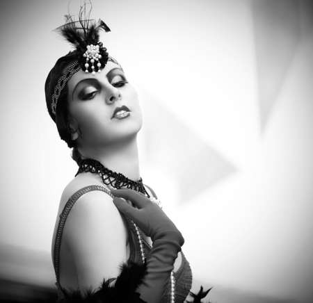 blackandwhite: Black-and-white retro style depiction of a woman in typical style of the 1920s or 1930s. She