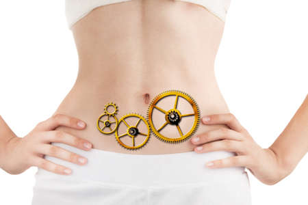 Slim Body of Young Woman with Perfect Healthy Digestive Tract Work. White Background.