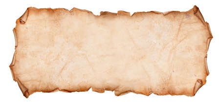 Altes, trockenes Papier mit zerrissenen Kanten gelockt auf einem weißen Hintergrund
