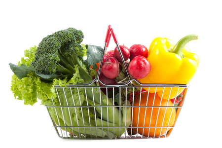 Shopping Concept: Shopping Basket Filled with Perfect Vegetables and Fruit.
