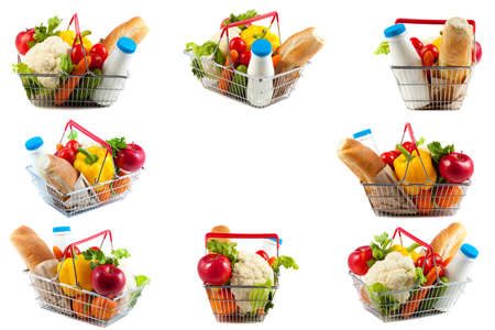 Collage of Eight Kinds of an Excellent Shopping Basket Filled with Perfect Daily Products. The Shopping Cart is Removed Clockwise from Eight Sides Stock Photo