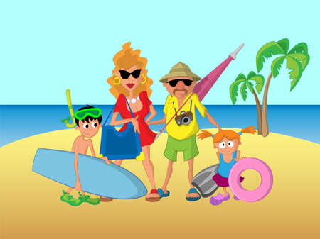 doughter: family on vacation Illustration
