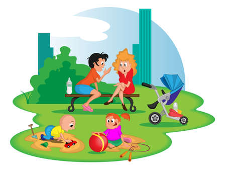 charactor: mothers with children in city park