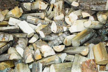 Pile of firewood in the shed photo