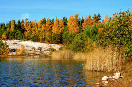 Forest lake landscape with beautiful autumn colors and reflections photo