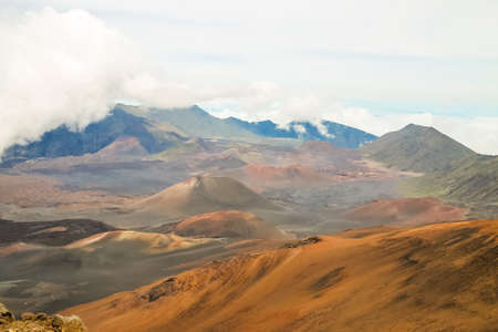 Beautiful daytime view of the Mount Haleakala crater in Maui, Hawaii photo