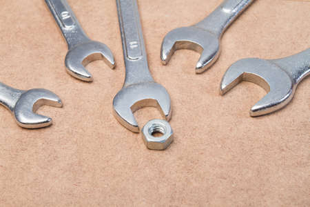 group of English wrenches on the work table. Banque d'images