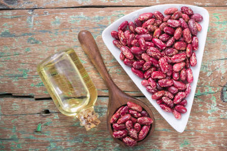 red bean in bowl on the table, Phaseolus vulgaris Stock Photo