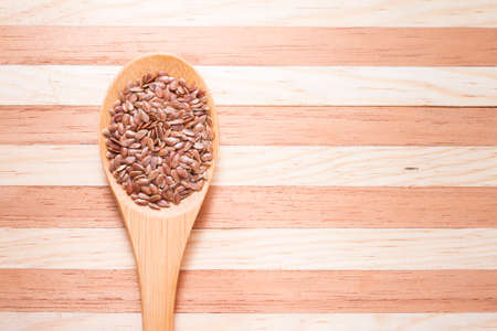 flax seed grains on the table, Linum usitatissimum