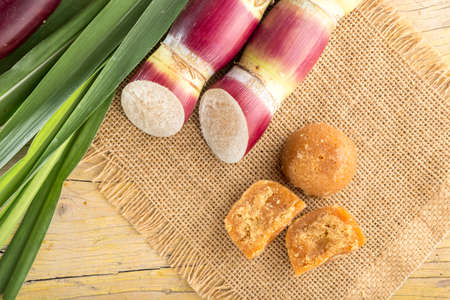 sugar cane and panela, colombia traditional sweet, top view