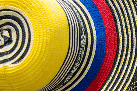 Traditional Colombian hat with the colors of the national flag, top view