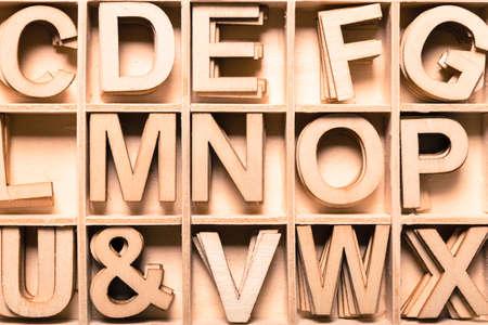 Alphabet letter collection, close up view