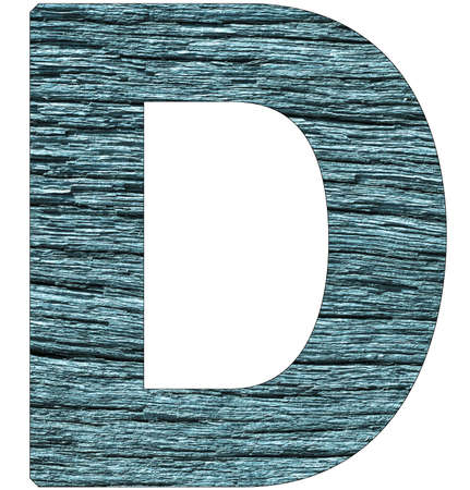 Letter D of the alphabet, with wood texture in blue color Banco de Imagens