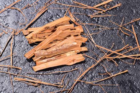 bark of cat's claw plant, Uncaria tomentosa on black background Reklamní fotografie