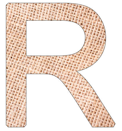 Letter R of the alphabet, with fique cloth background, Andean furcraea, isolated on white