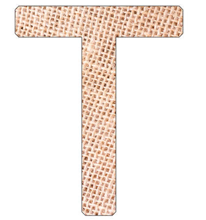 Letter T of the alphabet, with fique cloth background, Andean furcraea, isolated on white