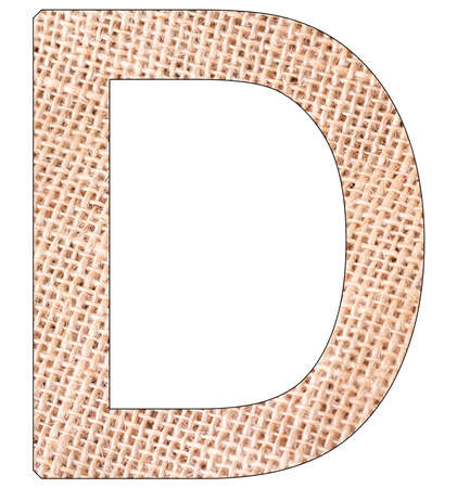Letter D of the alphabet, with fique cloth background, Andean furcraea, isolated on white