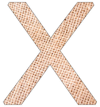 Letter X of the alphabet, with fique cloth background, Andean furcraea, isolated on white Reklamní fotografie