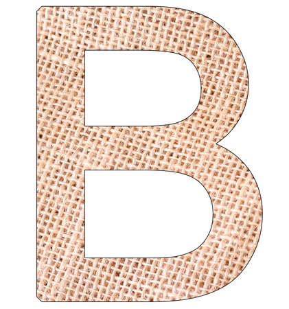 Letter B of the alphabet, with fique cloth background, Andean furcraea, isolated on white