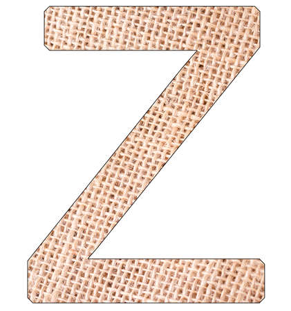 Letter Z of the alphabet, with fique cloth background, Andean furcraea, isolated on white