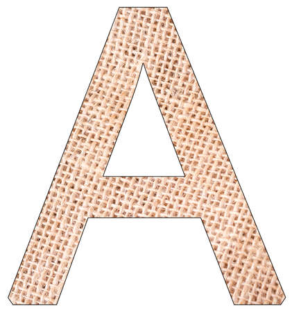 Letter A of the alphabet, with fique cloth background, Andean furcraea, isolated on white