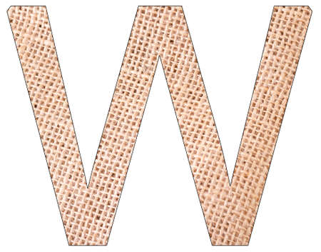 Letter W of the alphabet, with fique cloth background, Andean furcraea, isolated on white Reklamní fotografie
