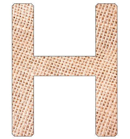 Letter H of the alphabet, with fique cloth background, Andean furcraea, isolated on white