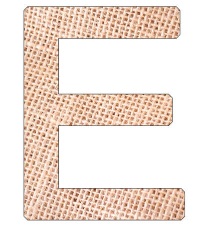 Letter E of the alphabet, with fique cloth background, Andean furcraea, isolated on white