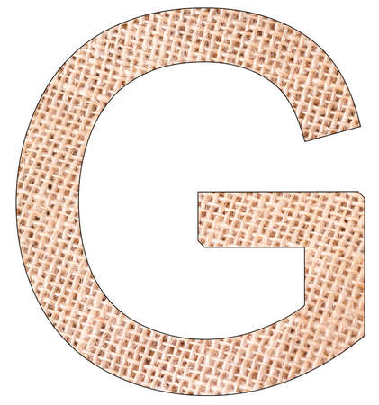 Letter G of the alphabet, with fique cloth background, Andean furcraea, isolated on white Reklamní fotografie