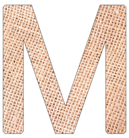 Letter M of the alphabet, with fique cloth background, Andean furcraea, isolated on white