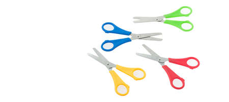 scissors for cutting shingle paper on white background, space for text Stock fotó