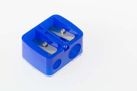 double pencil sharpener, blue color, on white background, close-up image Stock fotó