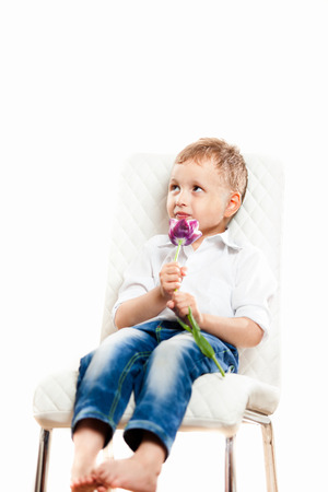 playfulness: A boy sits on a white background on a white chair with a Tulip Stock Photo