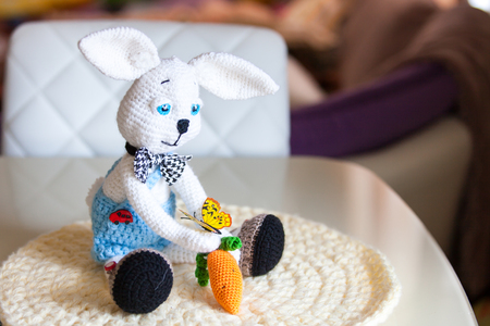 butterfly rabbit: Knitted white Bunny rabbit amigurumi in shorts and a carrot and a butterfly is sitting on the table Stock Photo