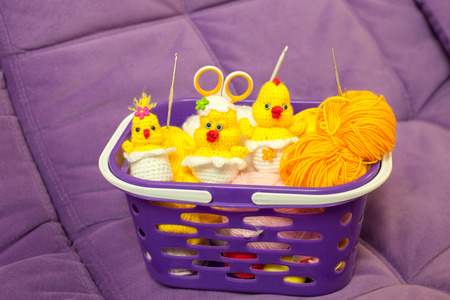 chicks: Knitted Chicks in basket with yarn and hooks