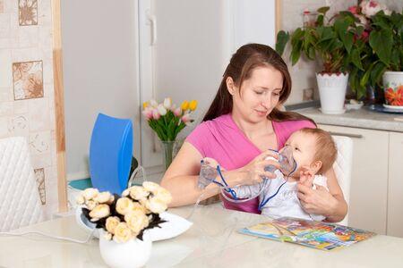 inhale: inhalation to a child under one year