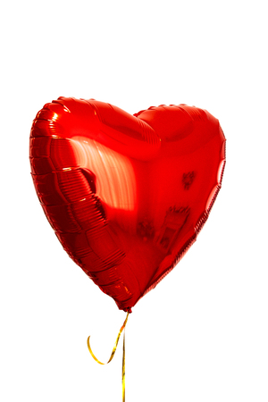 Single big red heart ball object for birthday, Valentine's day. isolated on white background.