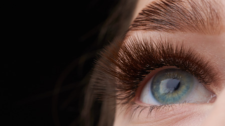 Schöne Makrofotografie des Auges einer Frau mit extremem Make-up von langen Wimpern. Perfekte lange Wimpern. ohne Kosmetik. Close-up Fashion Eye Antlitz, Laminierung Augenbraue schön