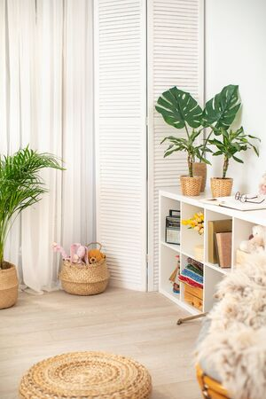 White flat interior with leaves posters wicker baskets and indoor plants.White flat interior with leaves posters wicker baskets and indoor plants, a shelf filled with decorative elements and a window with light curtains