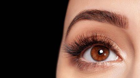 長いまつげの極端なメイクで女性の目の美しいマクロ写真。完璧な長いまつげ、模倣。化粧品の拒絶。クローズアップファッションアイメイク、眉毛ラミネートが美しい