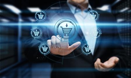 장바구니에 추가 인터넷 웹 스토어 온라인 전자 상거래 개념을 구입하십시오.