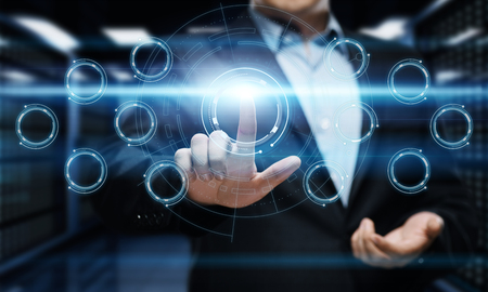 Businessman pressing button on virtual screen. Man pointing on futuristic interface. Innovation technology internet and business concept. Stockfoto