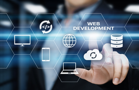 Web Development Coding Programming Internet Technology Business concept. Stock Photo